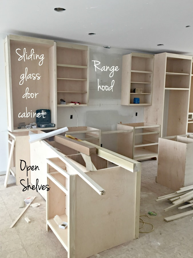 The Large Floor To Counter Cabinet On The Left Will Have Glass Sliding  Doors. We Went With Sliding Doors, So I Could Access It Easily From Both  Sides Of The ...