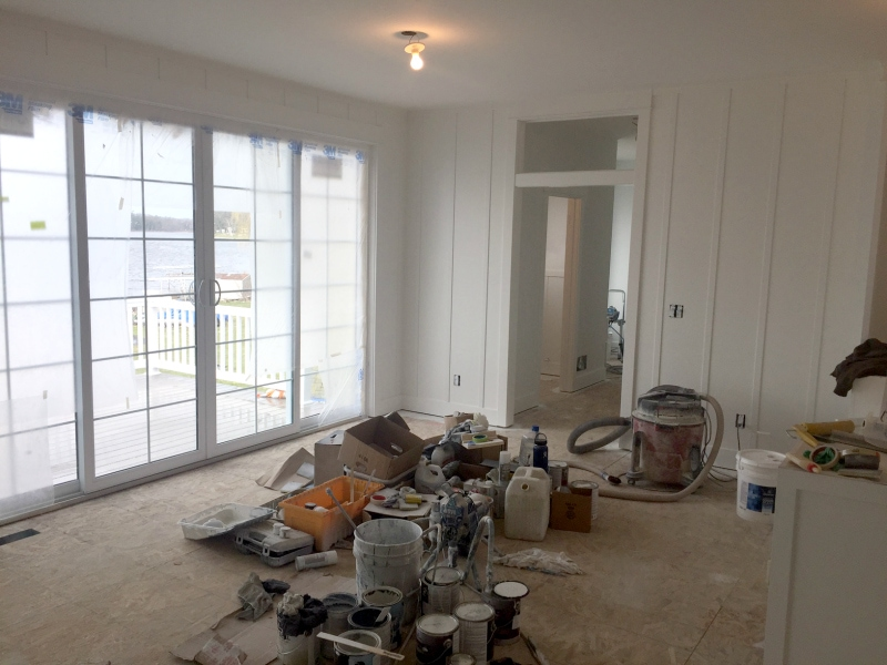 Fabulous All the board and batten walls have coat of white paint so far I know white walls aren ut for everyone but for me it works I really want the lake view