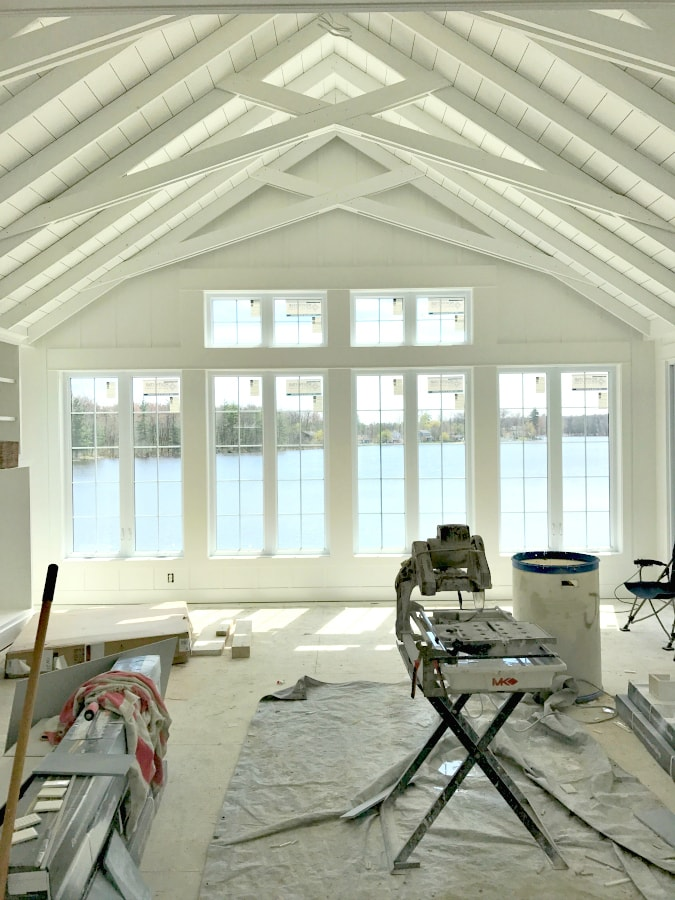 Cottage style planked white ceiling