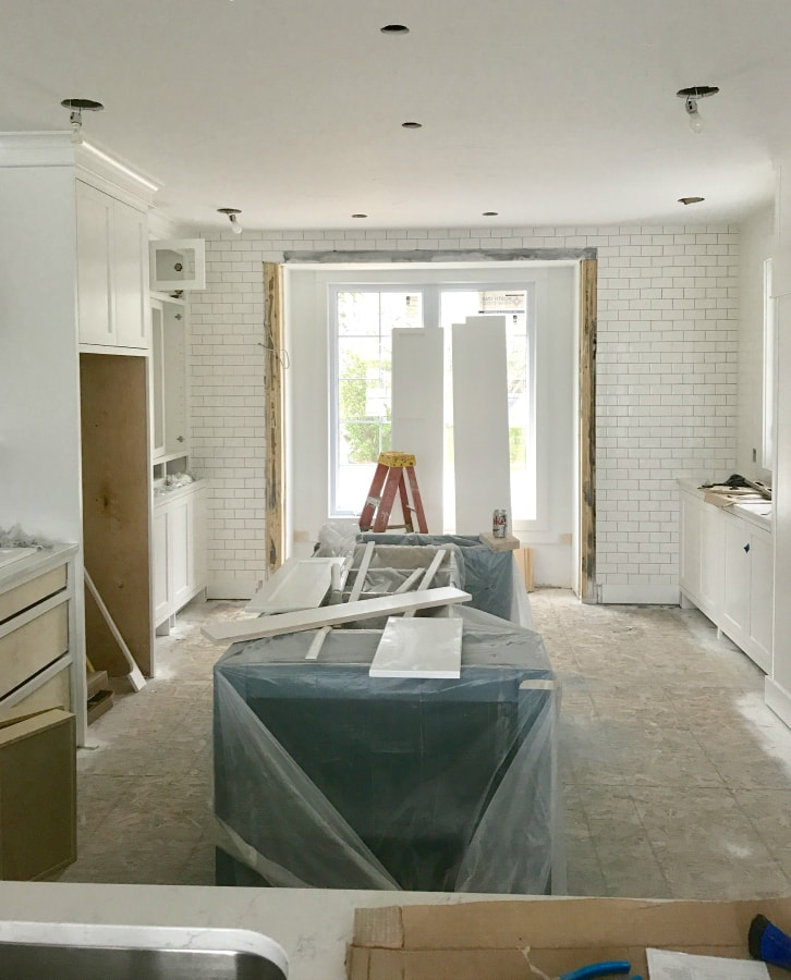 Subway tile white kitchen progress