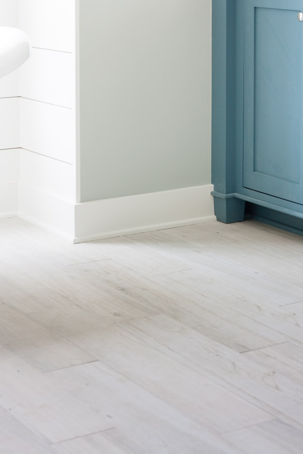White washed faux wood tile flooring