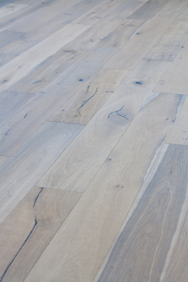 Brushed white oak wide plank wood floors