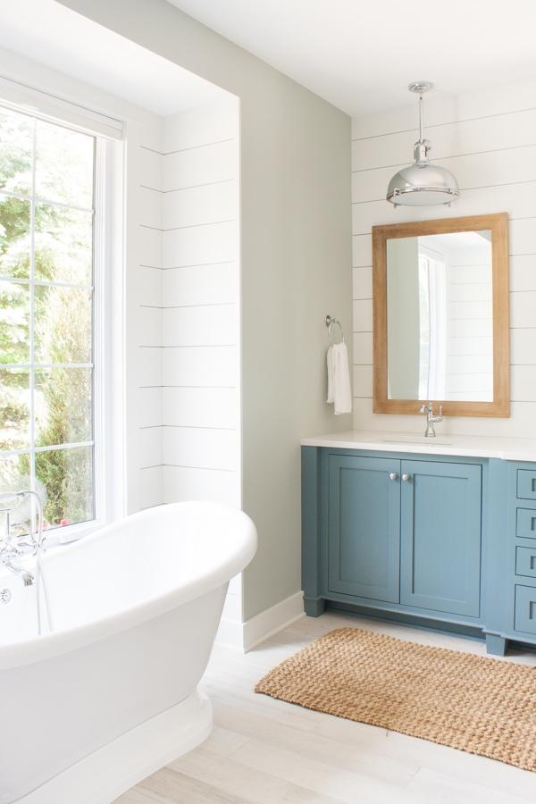 Blue and White Lake House Bathroom