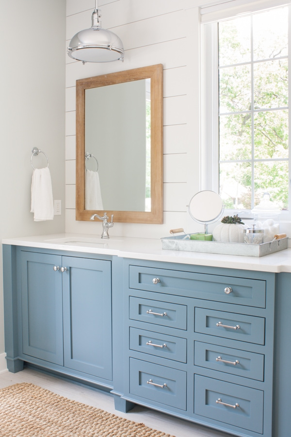 Lake house master bathroom blue cabinetry