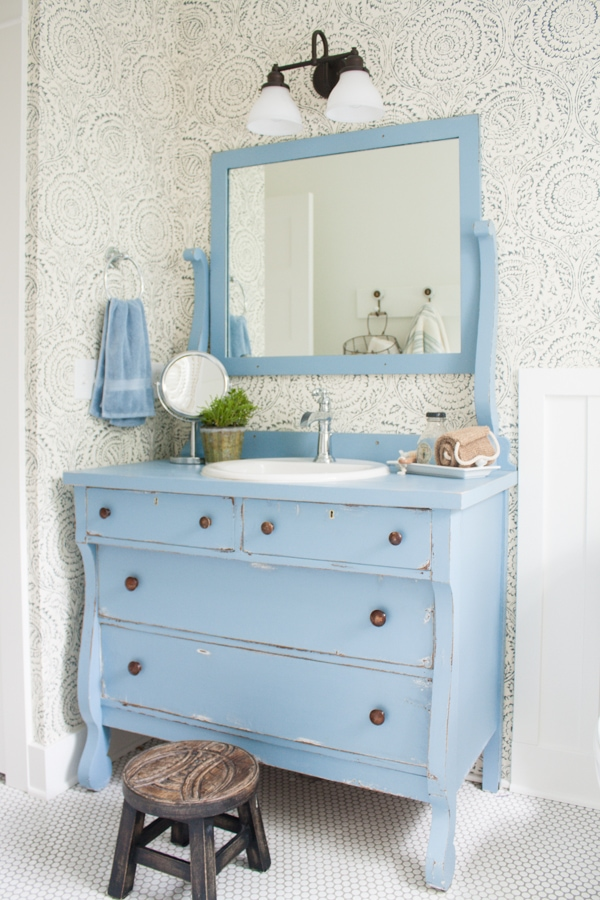 Follow the yellow brick home ideas for repurposing a - Beautiful bathroom vanity furniture ...