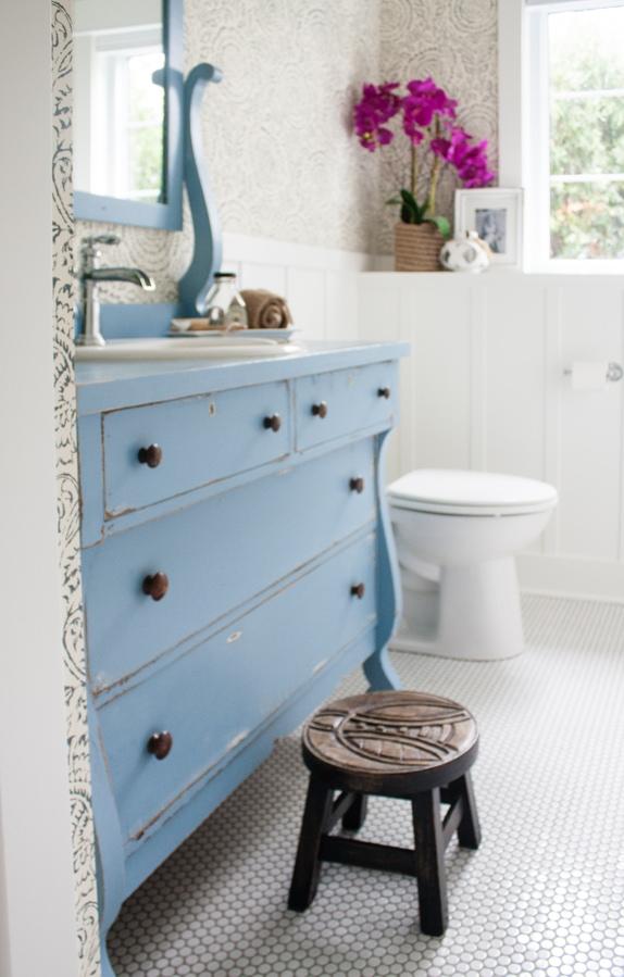 White and Blue Bathroom with Vintage Dresser Sink