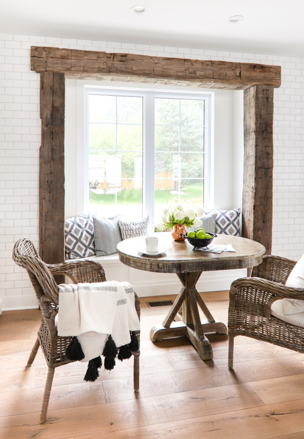 Window Seat Rustic Beam Breakfast Nook