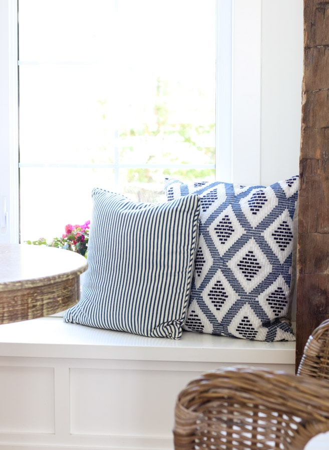 Rustic Beam Breakfast nook blue white pillows