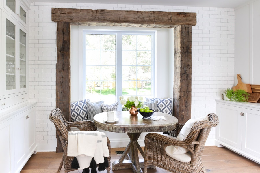 rustic beams kitchen breakfast nook