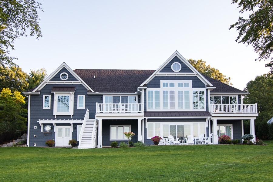 Charcoal grey and white lake home