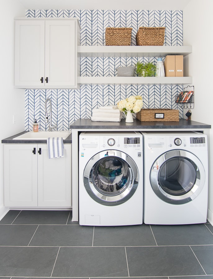 Wallpapered Laundry Room The Lilypad Cottage