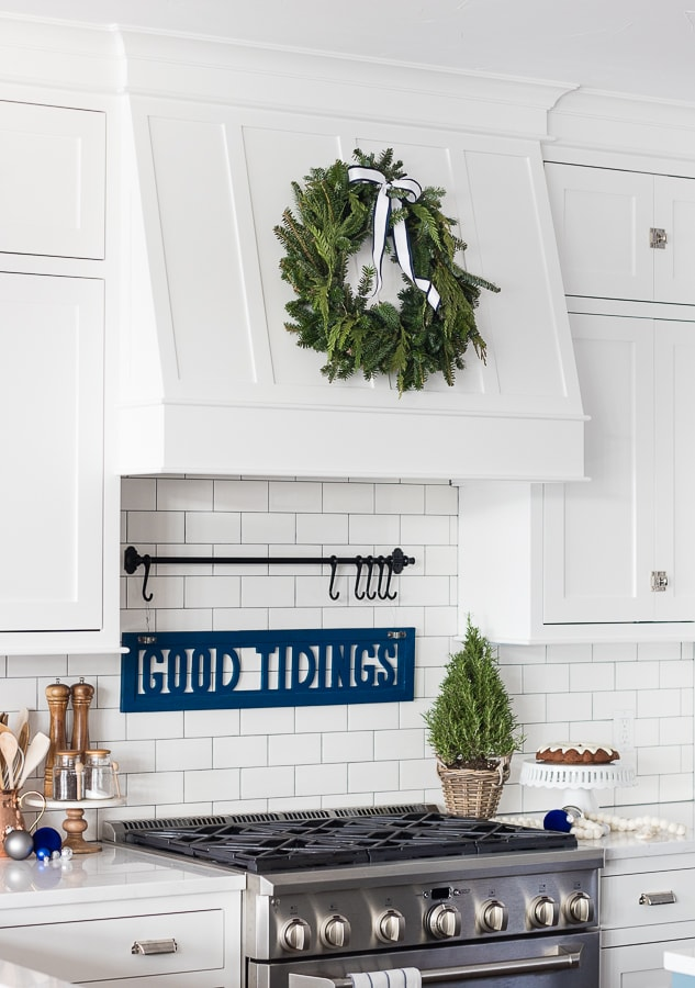 White and Navy Kitchen Christmas Decor - The Lilypad Cottage