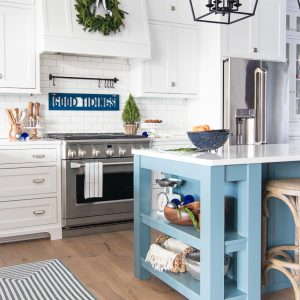 White and Navy Kitchen Christmas Decor