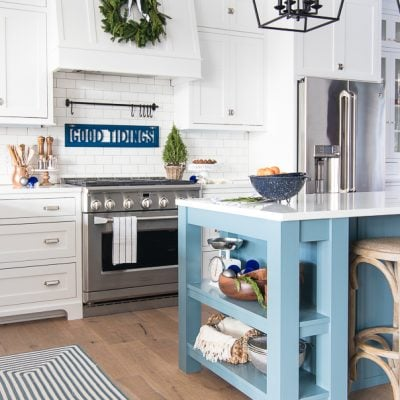 White and Navy Kitchen Christmas Decor