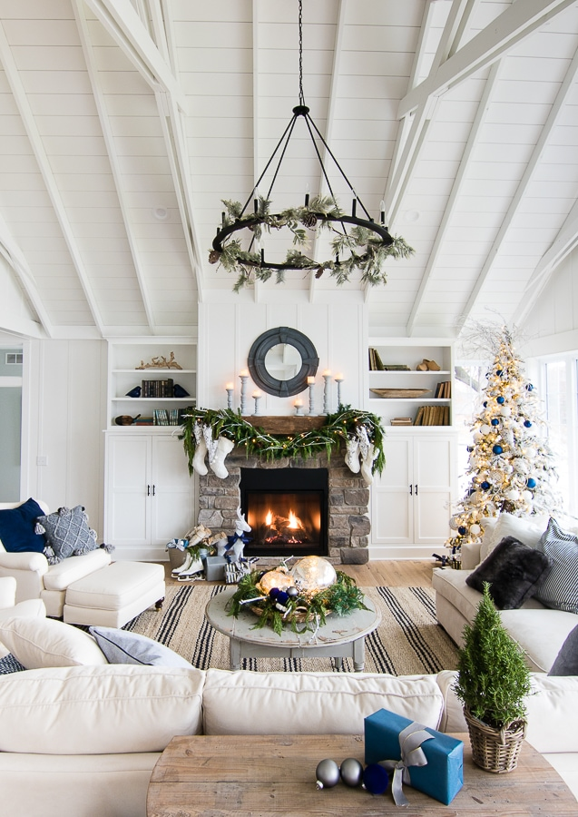 Navy and White Christmas Decor