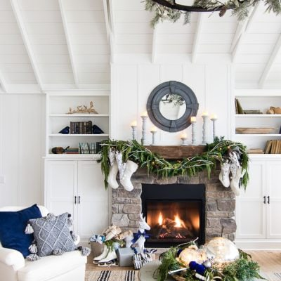 White Rustic Christmas Mantel