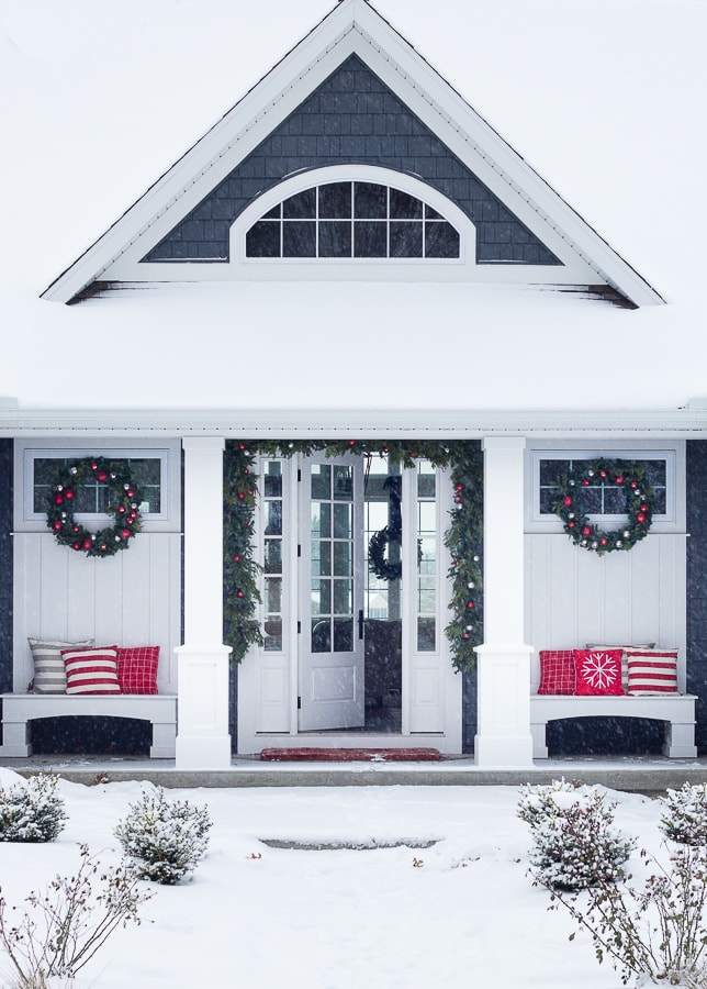 Red Christmas Front Porch
