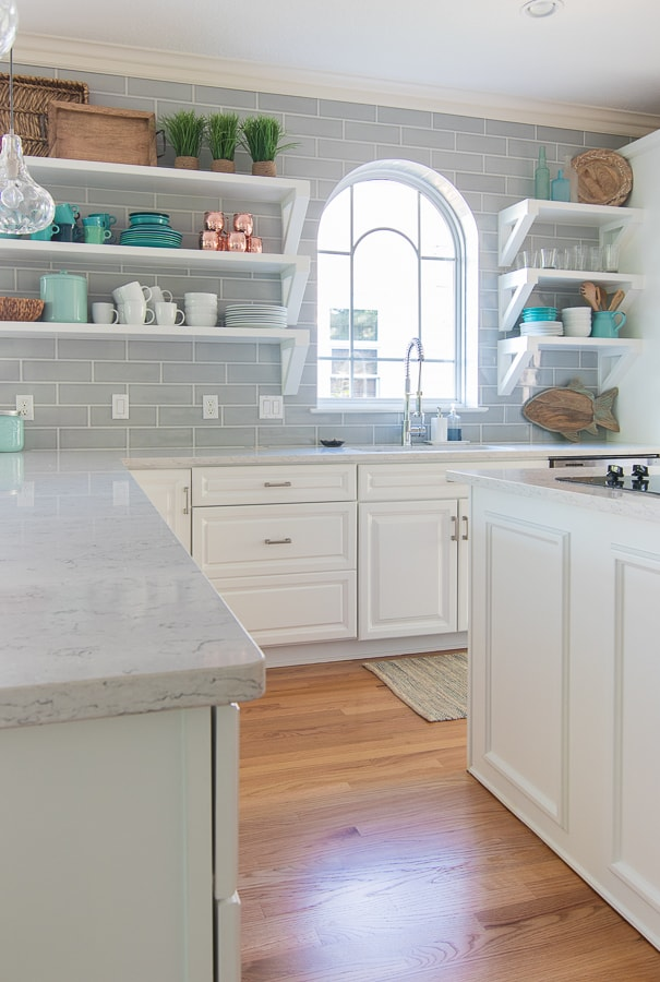 Coastal Kitchen white cabinets grey tile