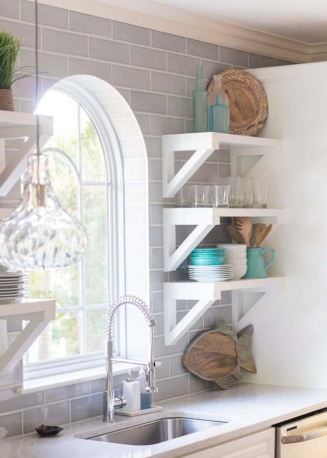 White coastal kitchen grey subway tile