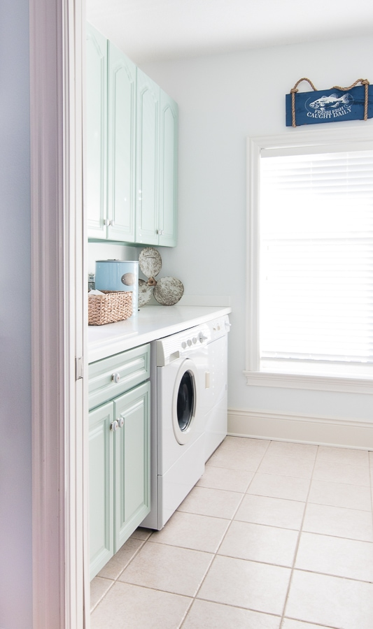 Wythe blue laundry room cabinets