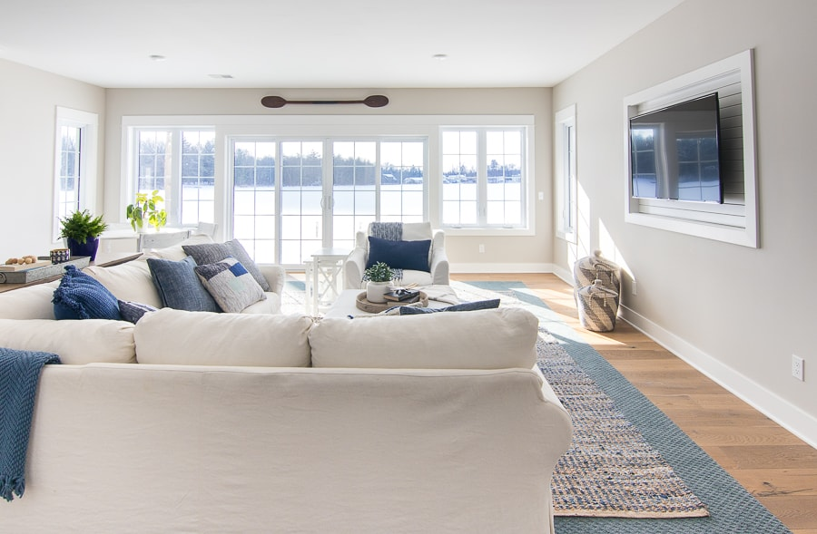Lake House Family Room Blue and White Decor