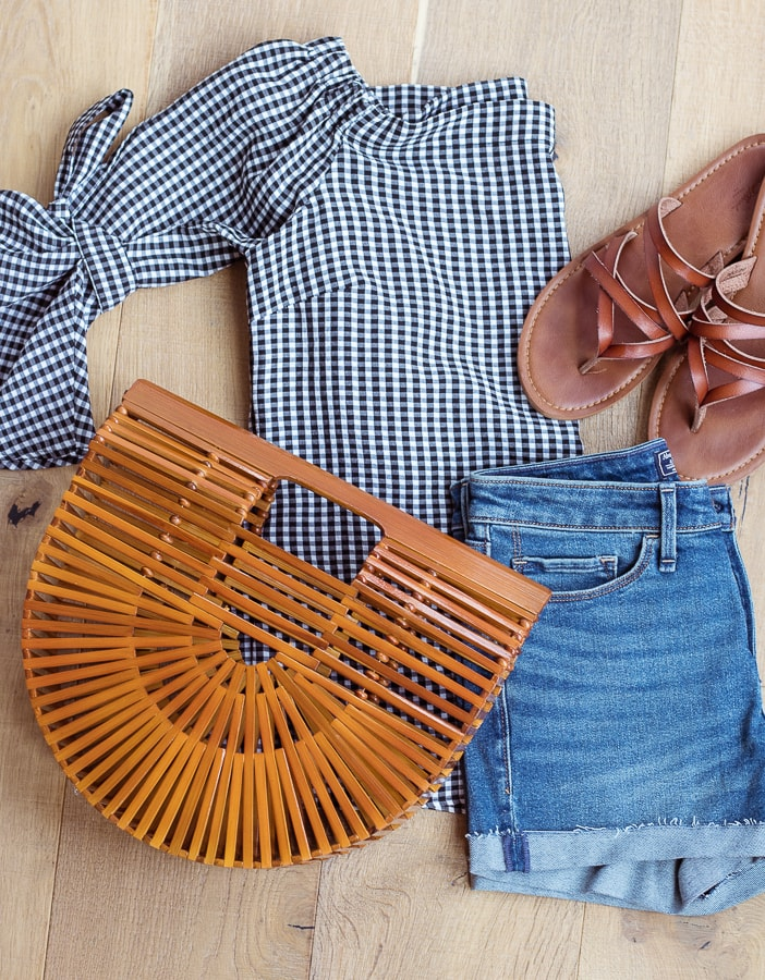 Bamboo bag gingham top outfit
