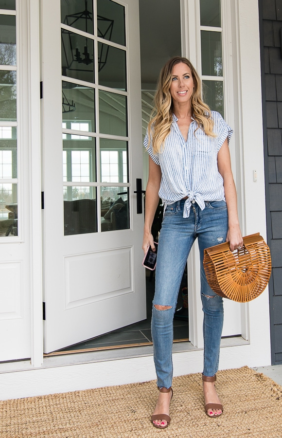 bamboo bag jeans top outfit