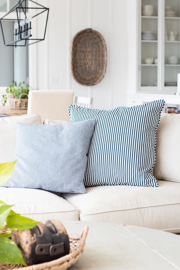 ticking throw pillows