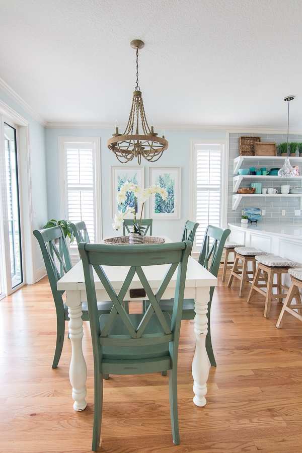 Blue and White Coastal Dining Room - The Lilypad Cottage