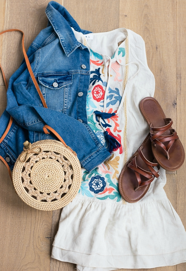 Dress jean jacket straw bag outfit
