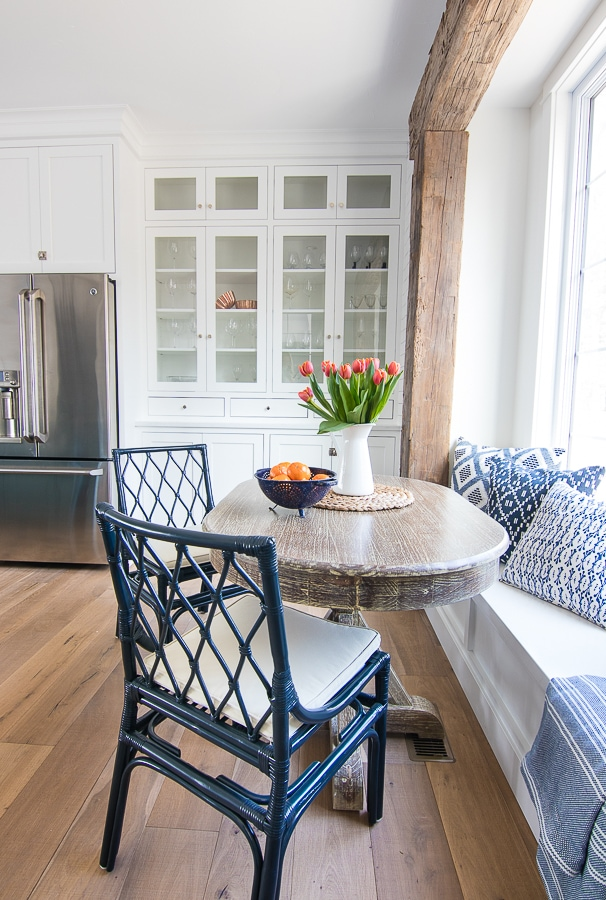 Lake house breakfast nook glass cabinets