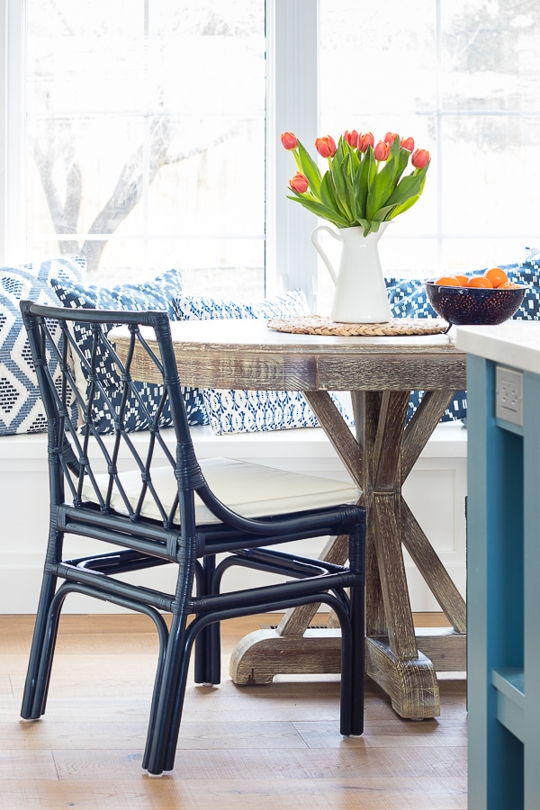 Navy cane chairs breakfast nook navy chairs