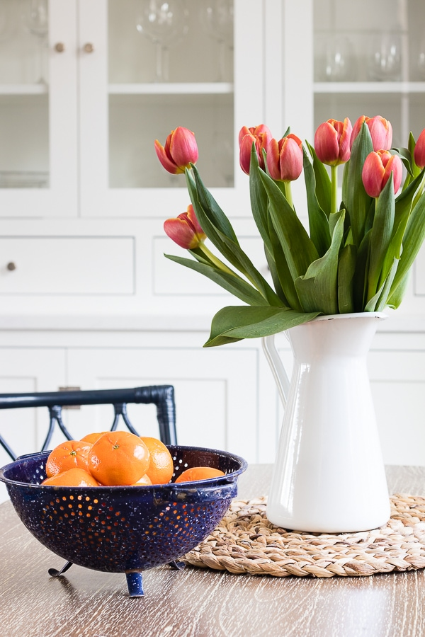 orange tulips breakfast nook decor