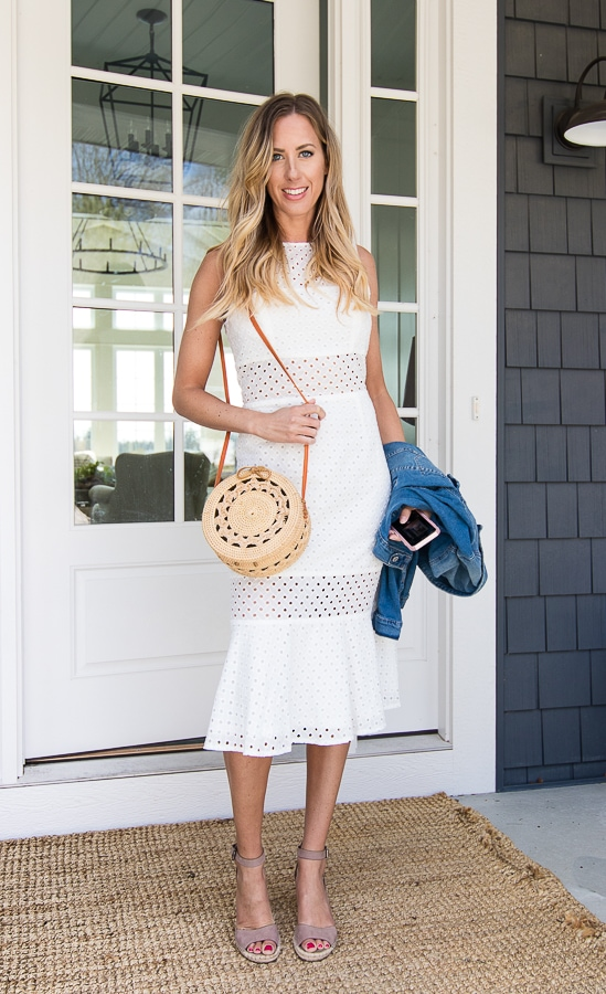 White Eyelet dress straw bag outfit