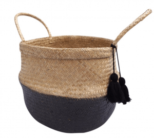 black rattan basket