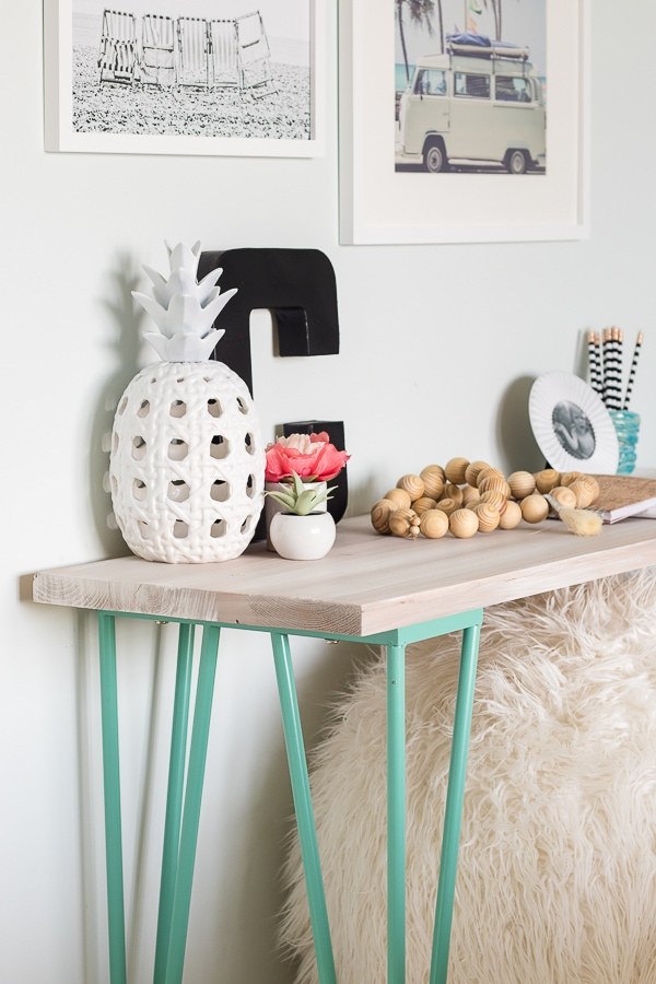 tween girl desk area beachy decor