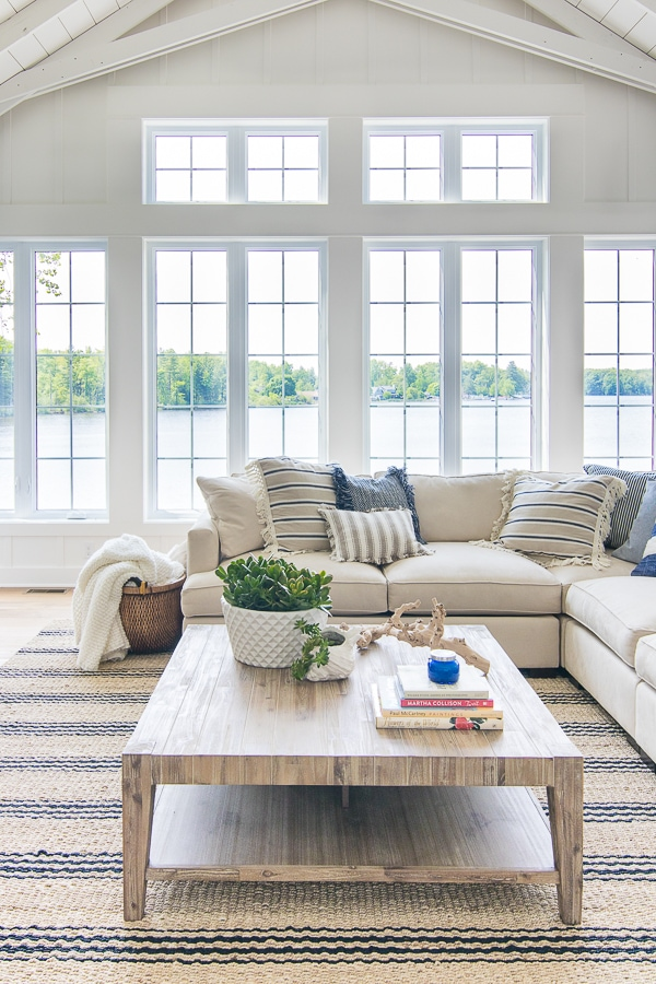 Lake House Blue And White Living Room