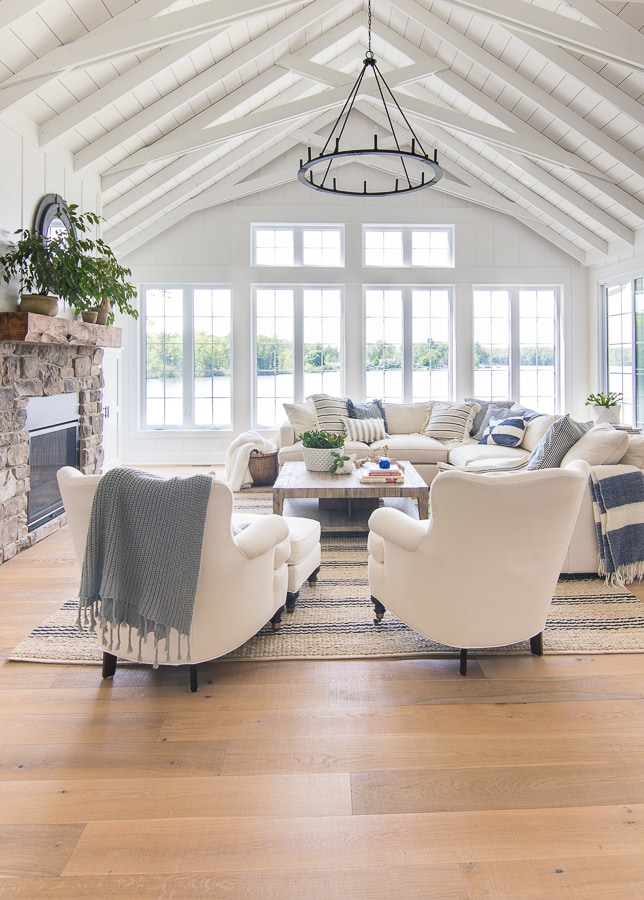 Lake House White Living Room Decor