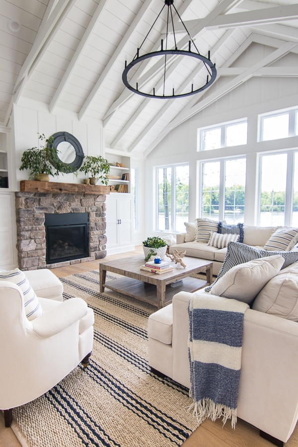 Lake House Blue and White Living Room Decor