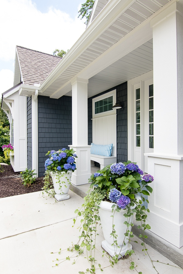 potted hydrangeas front porch lake house