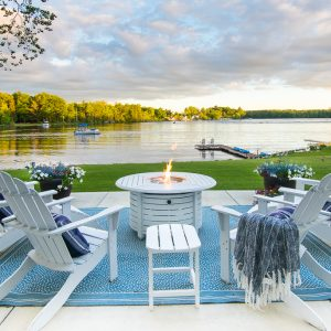 Lake Front White Fire Pit Table