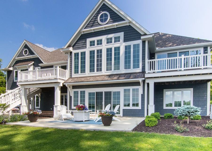dark grey and white lake house