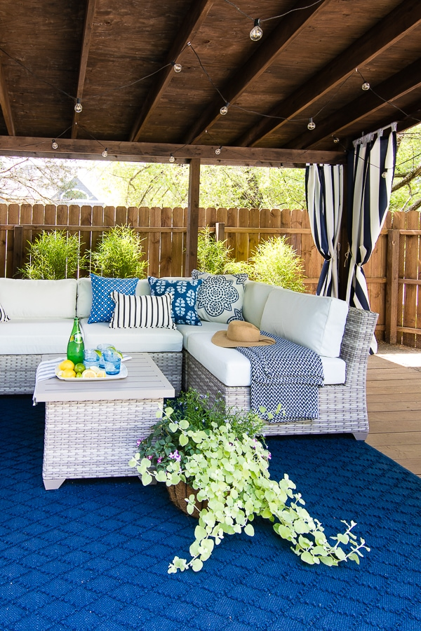 Navy and white pool cabana area