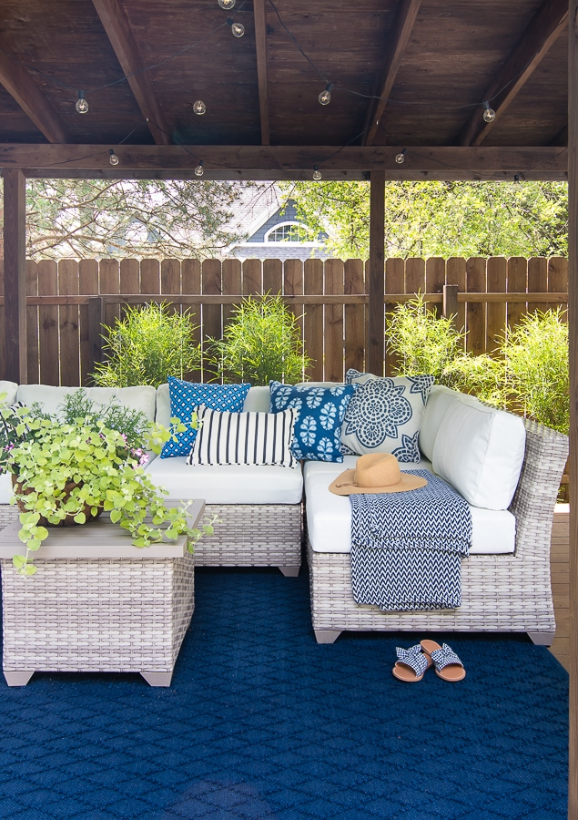 pool cabana makeover sectional outdoor furniture