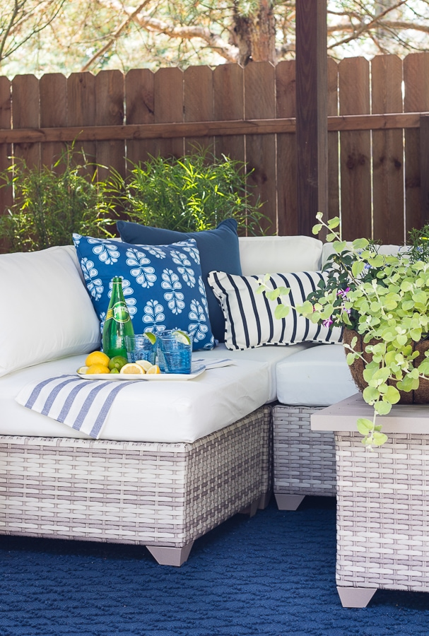Pool cabana makeover blue and white decor
