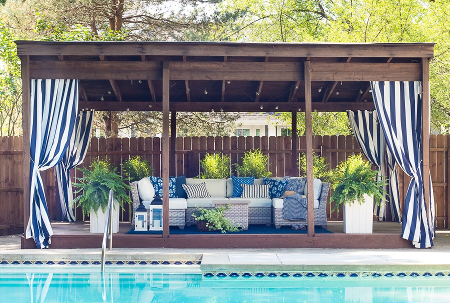 Pool Cabana Makeover with white sectional