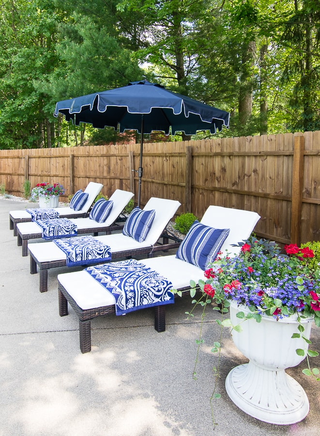 Navy and White pool furniture