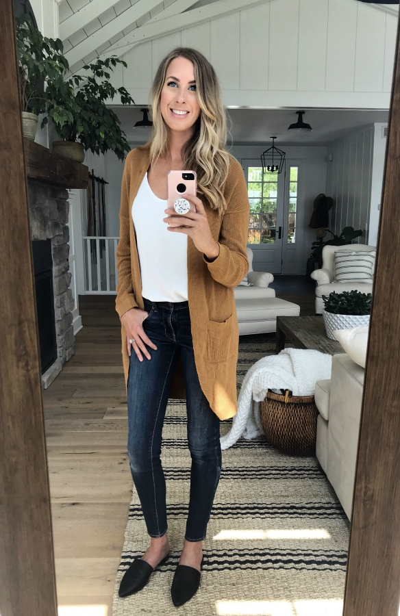mustard cardigan fall outfit
