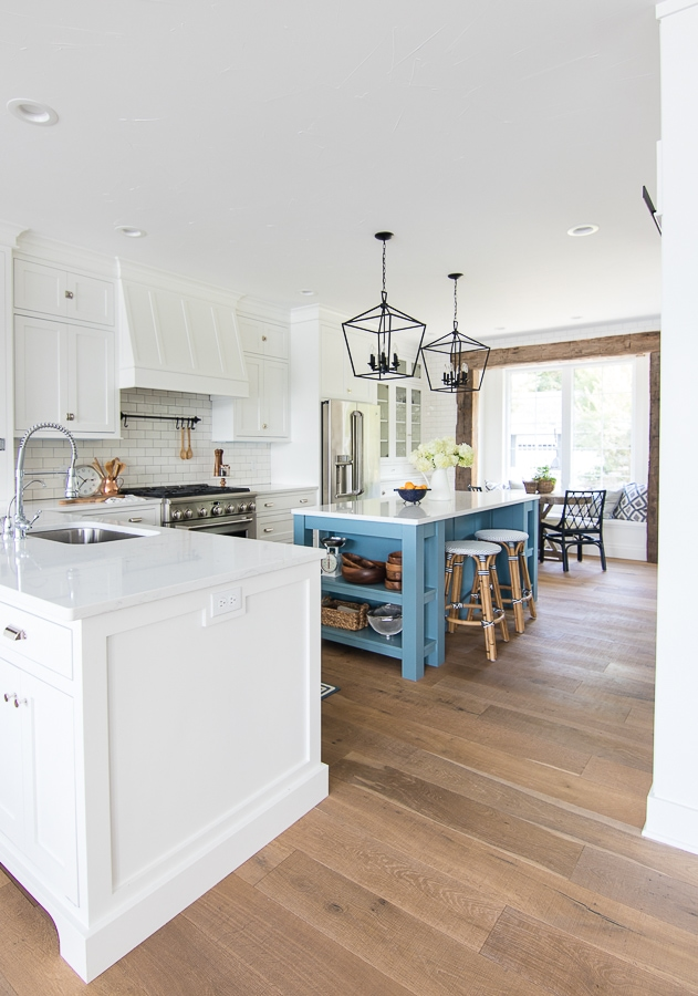 White and blue lake house kitchen