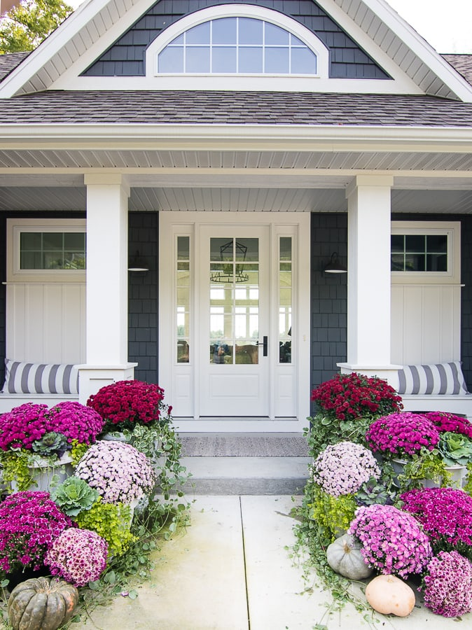 burgundy and pink fall front porch